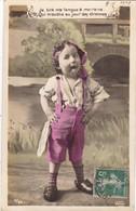 """CARTE FANTAISIE. CPA .ENFANT MECONTANT """""""" JE TIRE MA LANGUE A MA MARRAINE"""". ANNEE 1907 +TEXTE - Szenen & Landschaften"""