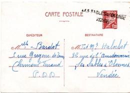 Les Sables D'Olonne Vendée - Griffe Sur Carte Entier Pétain 1942 - 1921-1960: Modern Tijdperk