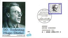 """BRD Schmuck-FDC """"50.Todestag Von Hugo Distler"""" Mi. 1637 ESSt 15.10.1992 BERLIN 12 - [7] Federal Republic"""