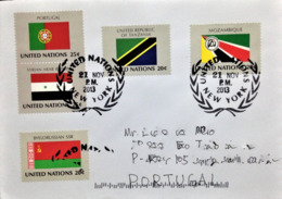 """United Nations, Circulated Cover To Portugal, """"FLAGS"""", Portugal, Syria, Byelorussia, Mozambique And Tanzania, 2013 - New-York - Siège De L'ONU"""