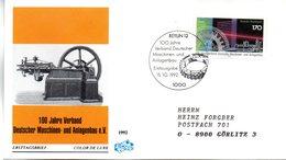 """BRD Schmuck-FDC """"100 Jahre Verband Deutscher Maschinen- Und Anlagenbau (VDMA)"""" Mi. 1636 ESSt 15.10.1992 BERLIN 12 - [7] Federal Republic"""