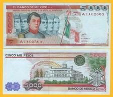 Mexico 5000 Pesos P-71 1980 (Serie A) UNC Banknote - Mexiko