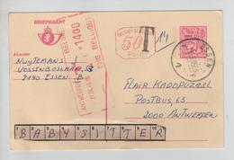 REF316/ Entier CP 191 (7,50 +50c ) M1 P010 C.Essen 26/9/85 Griffe T 14 > Taxée 14 Frs Par C.méc.Antwerpen 27/9/85 - Cartes Postales [1951-..]