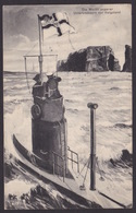 AK / WK 1 /  Die Wacht Unserer Unterseeboote Vor Helgoland / Kreuz - Pfennig / Schiffspost  ...  ( E 436 ) - Guerre 1914-18