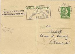 ENTIER POSTAL N° 1010 CP1 * 12  FCS  VERT *  MARIANNE  DE  MULLER  *  Oblitéré FOIRE DE METZ  1957  * - Marcophilie (Lettres)