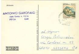 """""""TORNEO DI SCACCHI PER CORRISPONDENZA""""-1988-BARI -MEZZANO (RAVENNA)- TIMBRO POSTE BARI, - Scacchi"""