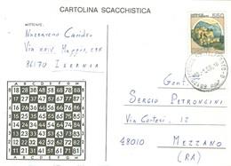 """""""TORNEO DI SCACCHI PER CORRISPONDENZA""""-1989- CARTOLINA SCACCHISTICA- ISERNIA-MEZZANO(RAVENNA)-TIMBRO POSTE ISERNIA- - Scacchi"""