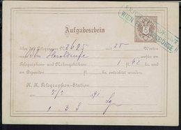 Autriche - 1891 - Aufgabeschein - Entier Postal 5 KR Sur Reçu De Télégramme - B/TB - - Entiers Postaux