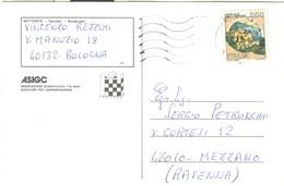 """""""TORNEO DI SCACCHI PER CORRISPONDENZA""""-1989- ASIGC- BOLOGNA-MEZZANO(RAVENNA)-TIMBRO POSTE BOLOGNA - Scacchi"""