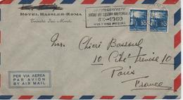 ITALIE  LETTRE TIMBREE DE HOTEL  HASSLER ROMA  CACHET  1960 - 1946-.. République
