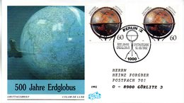 "BRD Schmuck-FDC ""500 Jahre Erdglobus"" Mi. 2x 1627 ESSt 10.9.1992 BERLIN 12 - [7] Federal Republic"