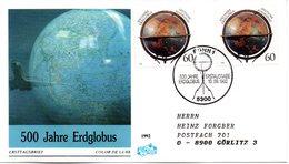 "BRD Schmuck-FDC ""500 Jahre Erdglobus"" Mi. 2x 1627 ESSt 10.9.1992 BONN 1 - [7] Federal Republic"