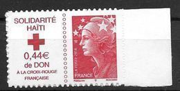 France 2010 Timbre Adhésif Neuf** N°388 Solidarité Haiti Surtaxe Croix Rouge Cote 5 Euros - Francia