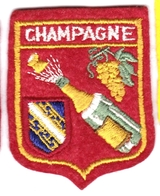 Ecusson Tissu - Champagne - Bouteille - Raisin - Blason - Armoiries - Héraldique - Ecussons Tissu