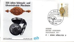 """BRD Schmuck-FDC """"225 Jahre Schmuck- Und Uhrenindustrie Pforzheim"""" Mi. 1628 ESSt 10.9.1992 BERLIN 12 - [7] Federal Republic"""