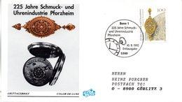 """BRD Schmuck-FDC """"225 Jahre Schmuck- Und Uhrenindustrie Pforzheim"""" Mi. 1628 ESSt 10.9.1992 BONN 1 - [7] Federal Republic"""