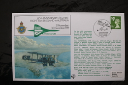 Great Britain 60th First Flight England Australia  With Concorde Special Cancel 1979 Correct Card Is Inside Env A04s - Concorde