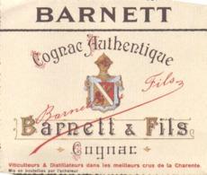 ETIQUETTE - ALCOOL - VIN  - COGNAC AUTHENTIQUE  - BARNETT ET FILS - Etiquettes