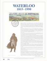 Exemplaire 001 Feuillet Tirage Limité 500 Exemplaires Frappe Or Fin 23 Carats 2376 Waterloo Napoléon Braine-l'Alleud - Feuillets