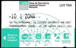 Billet 10 Voyages, Espagne 2011 - ATM Área De Barcelona // Train/ Bus/ Métro - Tramways