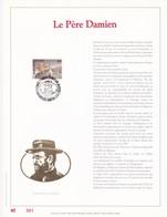 Exemplaire 001 Feuillet Tirage Limité 500 Exemplaires Frappe Or Fin 23 Carats 2346 Père Damien - Feuillets