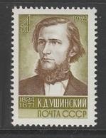 TIMBRE NEUF D'U.R.S.S. - 150E ANNIVERSAIRE DE LA NAISSANCE DU PEDAGOGUE RUSSE K. D. OUCHINSKY N° Y&T 4013 - Famous People