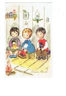 Cpa - Illustration Bonne Année 1967 - Enfants Cadeaux Poupée Chat Feu De Bois Lampe à Pétrole - JC Belgium - Szenen & Landschaften