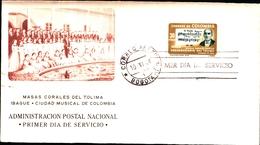 92659)  COLUMBIA 1964 LETTERA FDC CONSERVATORIO DEL TOLIMA-MAESTRO ALBERTO CASTILLA-10-11-1964-MUSICA - Colombia