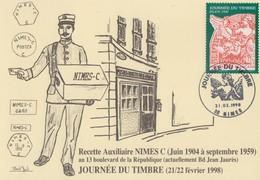 Carte  Locale  1er  Jour  FRANCE   JOURNEE  Du  TIMBRE   NIMES   1998 - Giornata Del Francobollo