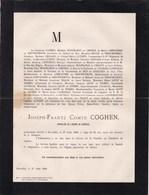 LAEKEN Joseph-Franz Comte COGHEN 61 Ans 1888 Famille LIMNANDER De NIEUWENHOVE MOSSELMAN DU CHENOY LICOT DE NISMES - Décès