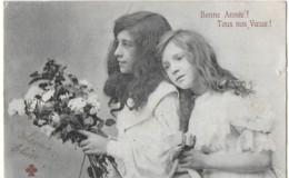 Voeux De Bonne Annéee (deux Jeunes Filles Avec Un Bouquet  Genre Bergeret (ed. Cccc) - Szenen & Landschaften