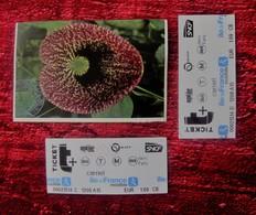 PARIS MUSÉUM NATIONAL D'HISTOIRE NATURELLE SERRES DES ORCHIDÉES JARDIN DES PLANTES + 2 TICKET DE METRO BUS PARISIEN SNCF - Tickets D'entrée