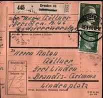 ! 1944 Paketkarte Deutsches Reich, Dresden Nach Brandis, Zusammendruck - Se-Tenant