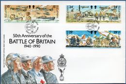 Isle Of Man 1990 50 Yr Battle Of Britain World War II FDC Hawker Hurricane, Spitfire, Civil Defense Red Cross, 2002.1629 - WW2 (II Guerra Mundial)