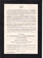 LA HAYE ANSEMBOURG Augusta Baronne D'ANETHAN Comtesse De MARCHANT D''ANSEMBOURG 1863-1951 Cour Grand-Ducale - Décès
