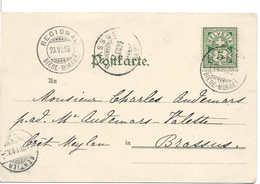 SUISSE 1899 REGIONAL BIÈRE - MORGES, Carte Postale, AMBULANT / BAHNPOST, Railway, Train, Zug. Canton De Vaud. - Ferrovie