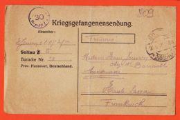 Wes000 Stalag SOLTAU II Baracke 53 Kriegsgefangenensendung 08-09-1918 De JOUVION 117e Inf. à Mme Cc BARRAULT Annemasse - Soltau