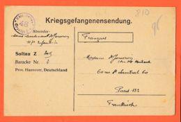 Wes002 Stalag SOLTAU Z 3015 Baracke 2 Lisez CHERON Négociateur Prisonniers  BERNE 10-03-1918 De JOUVION 117e Infanterie - War 1914-18