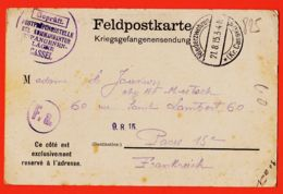 Wes001 Stalag CASSEL Kassel KGL Kommandantur Gefangenen-Lager 21-08-1915 Adjudant Henri JOUVION à Mme Cc MISTACK Paris - Kassel