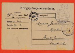 Wes004 Stalag SOLTAU 69 Z 3015 Baracke 2 Kriegsgefangenensendung Camp Prisonniers 15-05-1918 De JOUVION à Père Merville - Soltau