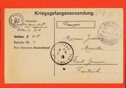 Wes005 Stalag SOLTAU 10 Z 3015 Baracke 2 Kriegsgefangenensendung Camp Prisonniers 16-06-1918 De JOUVION à Père Merville - Soltau