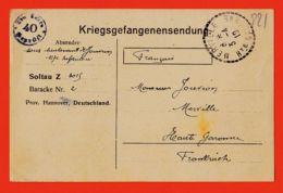 Wes007 Stalag SOLTAU 40 Z 3015 Baracke 2 Kriegsgefangenensendung Camp Prisonniers 03-04-1918 De JOUVION à Père Merville - Soltau