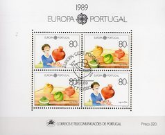 CEPT Kinderspiel 1989 Portugal Block 64 O 18€ Junge Mit Tanzender Kreisel Hoja Bloque Toys Bloc S/s Sheet Bf EUROPA - 1910-... Republic