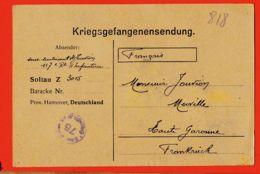Wes010 Stalag SOLTAU 48 Z 3015 Kriegsgefangenensendung Camp Prisonniers 25-12-1917 De JOUVION à Merville - Soltau