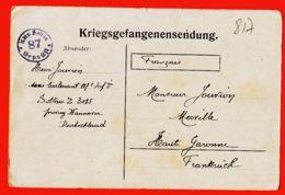 Wes011 Stalag SOLTAU 87 Z 3015 Kriegsgefangenensendung Lisez ! 10-11-1917 De Henri JOUVION 117e Infanterie Merville - War 1914-18