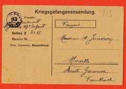 Wes013 Stalag SOLTAU 83 Z 3015 Kriegsgefangenensendung Camp Prisonniers 20-09-1917 De JOUVION Merville - Soltau