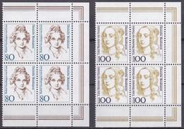 BRD, 1994,  Nr. 1755-1756 ** Frauen Der Deutschen Geschichte (XV),  2 Viererblöcke Mit Rechtem Rand Aus Kleinbogen - Nuovi