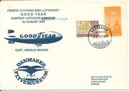 Denmark First Flight Airship Good Year Kastrup Airport - Sturup 12-8-1979 Capt. Arnaud Brizon With Cachet - Airships