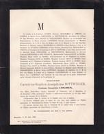 SAINT-JOSSE UCCLE Caroline RITTWEGER Comtesse COGHEN 1799-1885 Famille MOSSELMAN DU CHENOY LIMNANDER LICOT De NISMES - Décès