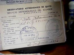 FRANCHIGIA OSSERVATORIO ASTRONOMICO  DE QUITO ECUADOR  BIBLIOTECA  X POLAND  VB1952 HK4867 - Astronomie